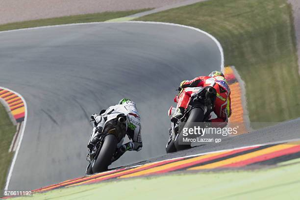 Eugene Laverty of Ireland and Aspar MotoGP Team leads the field during the MotoGp of Germany Qualifying at Sachsenring Circuit on July 16 2016 in...