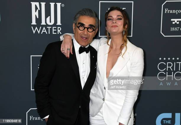 Eugene Levy and Annie Murphy attend the 25th Annual Critics' Choice Awards at Barker Hangar on January 12 2020 in Santa Monica California