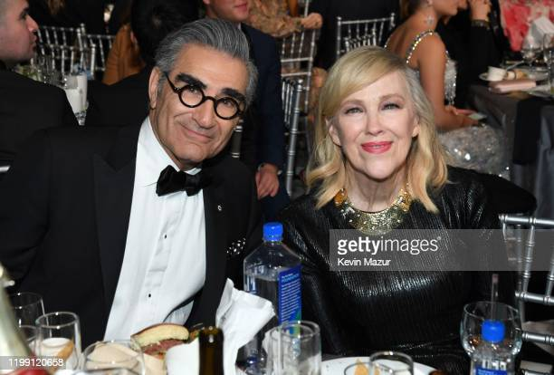 Eugene Levy and Catherine O'Hara attend the 25th Annual Critics' Choice Awards at Barker Hangar on January 12, 2020 in Santa Monica, California.