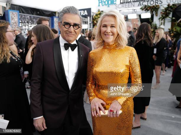 Eugene Levy and Catherine O'Hara attend the 26th Annual Screen Actors Guild Awards at The Shrine Auditorium on January 19 2020 in Los Angeles...