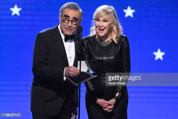 Eugene Levy and Catherine O'Hara speak onstage during the 25th Annual Critics' Choice Awards at Barker Hangar on January 12, 2020 in Santa Monica,...