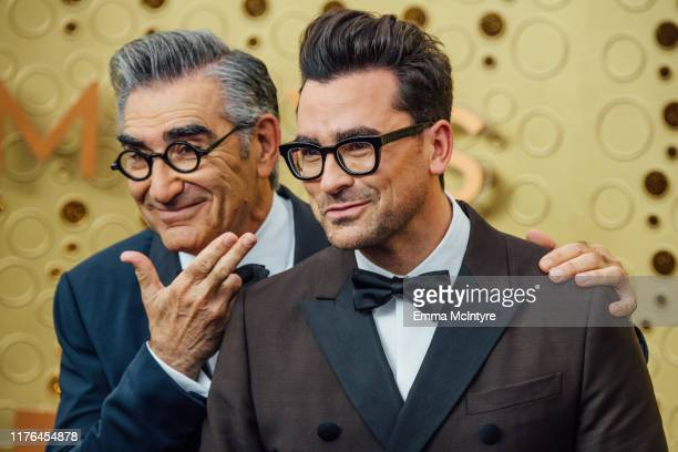 Eugene Levy and Dan Levy arrive at the 71st Emmy Awards at Microsoft Theater on September 22, 2019 in Los Angeles, California.
