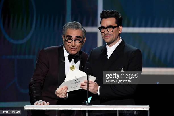 Eugene Levy and Dan Levy speak onstage at the 26th Annual Screen Actors Guild Awards at The Shrine Auditorium on January 19, 2020 in Los Angeles,...