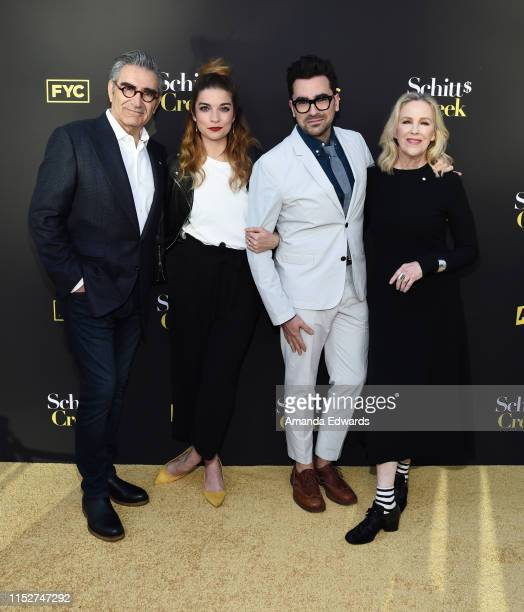 """Eugene Levy, Annie Murphy, Daniel Levy and Catherine O'Hara arrive at the FYC Screening of Pop TV's """"Schitt's Creek"""" at the Saban Media Center on May..."""