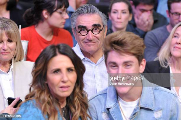 Eugene Levy attends a basketball game between the Los Angeles Lakers and the Phoenix Suns at Staples Center on January 27 2019 in Los Angeles...