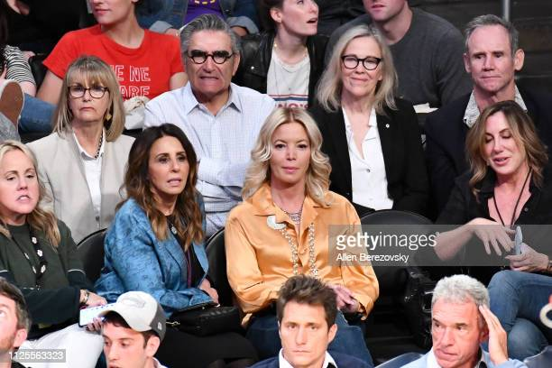 Eugene Levy Catherine O'Hara and Lakers' owner Jeanie Buss attend a basketball game between the Los Angeles Lakers and the Phoenix Suns at Staples...