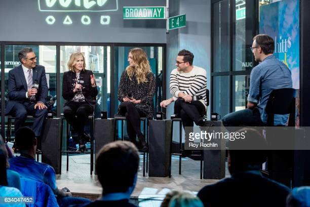 Eugene Levy Catherine O'Hara Annie Murphy and Dan Levy discuss 'Schitt's Creek' with the build series at Build Studio on February 6 2017 in New York...