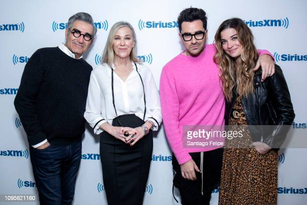 Eugene Levy, Catherine O'Hara, Daniel Levy and Annie Murphy of the tv show 'Schitt's Creek' visit SiriusXM Studios on January 17, 2019 in New York...