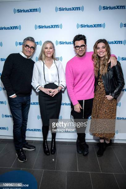 Eugene Levy Catherine O'Hara Daniel Levy and Annie Murphy of the tv show 'Schitt's Creek' visit SiriusXM Studios on January 17 2019 in New York City