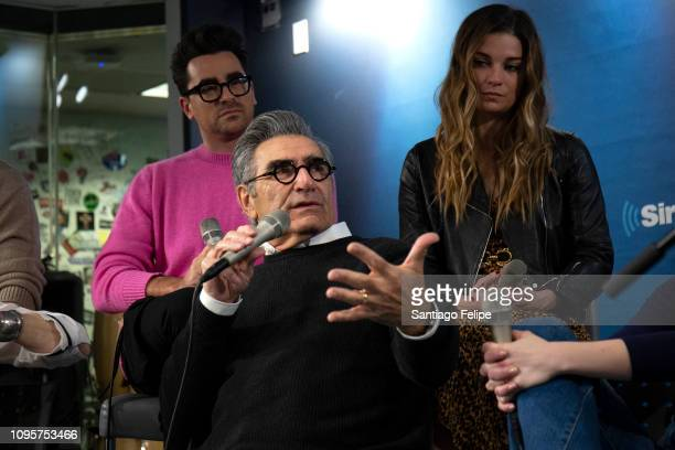 Eugene Levy Daniel Levy and Annie Murphy of the tv show 'Schitt's Creek' at SiriusXM Studios on January 17 2019 in New York City