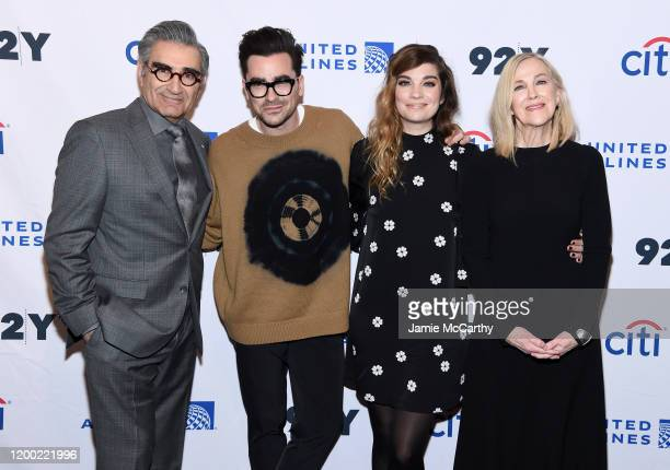 "Eugene Levy, Daniel levy, Annie Murphy and Catherine O'Hara attend the ""Schitt's Creek"" Screening & Conversation at 92nd Street Y on January 17, 2020..."