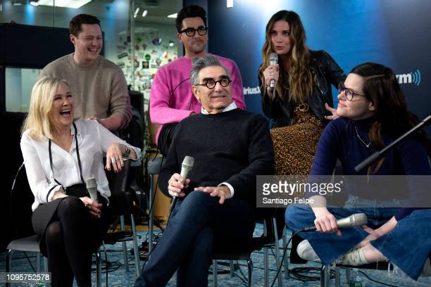 Eugene Levy Noah Reid Annie Murphy Catherine O'Hara Daniel Levy and Emily Hampshire of the tv show 'Schitt's Creek' at SiriusXM Studios on January 17...