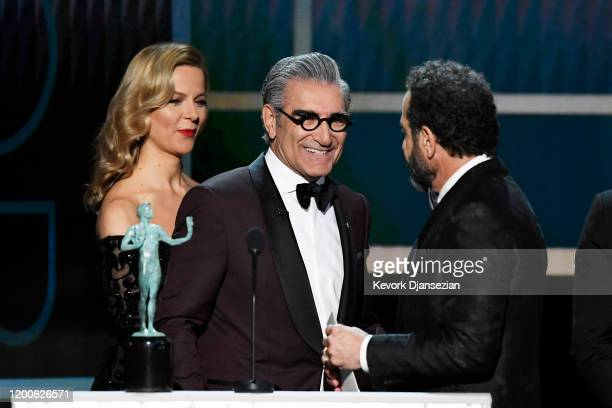 Eugene Levy presents Tony Shalhoub with the Outstanding Performance by a Male Actor in a Comedy Series for 'The Marvelous Mrs Maisel' onstage at the...