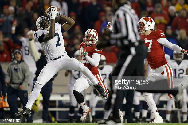 Eugene Lewis of the Penn State Nittany Lions makes the catch and runs it in for a touchdown in the second half against the Wisconsin Badgers at Camp...