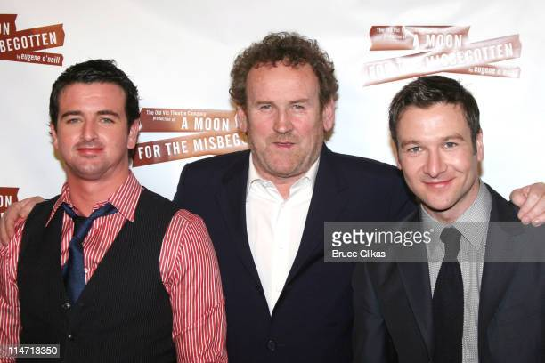 Eugene O'Hare Colm Meaney and Billy Carter during Opening Night Curtain Call and Press Room for A Moon for the Misbegotten April 9 2007 at The Brooks...