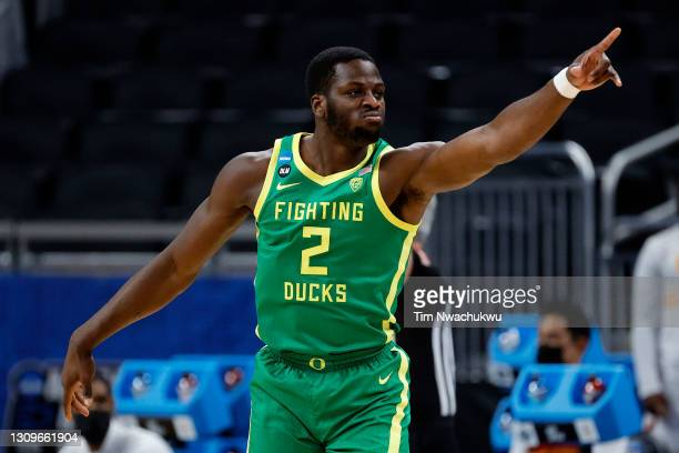 Eugene Omoruyi of the Oregon Ducks reacts after a three point basket against the USC Trojans in the first half of their Sweet Sixteen round game of...