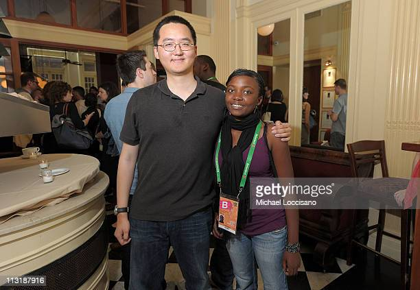 Eugene Suen and Marie Clementine Dusabejambo attend Director's Brunch at The 2011 Tribeca Film Festival at City Hall Restaurant on April 25 2011 in...