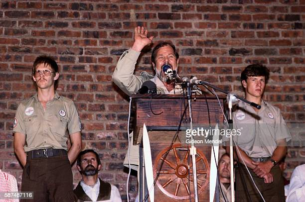 Eugene Terreblanche leader of the South African neoNazi organization Afrikaner Resistance Movement salutes while speaking at a party rally