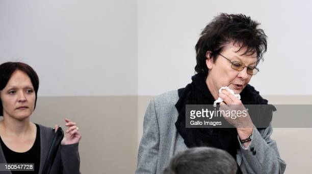 Eugene Terre'Blanche's wife Martie his daughter Bea attend the Eugene Terre'Blanche murder trial on August 20 2012 in Ventersdorp South Africa...