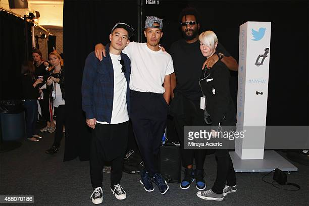 Eugene Tong DaoYi Chow Maxwell Osborne and Kate Lanphear pose backstage at Public School fashion show during Spring 2016 New York Fashion Week The...
