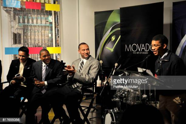 Eugene Tong Wynton Marsalis Derek Jeter and Jeter's Leader attend MOVADO Presents The Night Of Discovery at Visual Arts Gallery at the School of...
