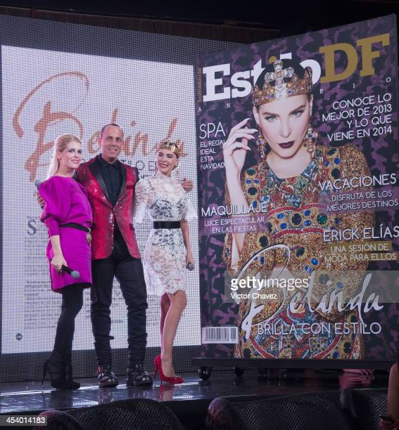 Eugenia Debayle Edy Smol and Belinda pose to photographers during the EstiloDF 3rd anniversary at Joy Room on November 27 2013 in Mexico City Mexico