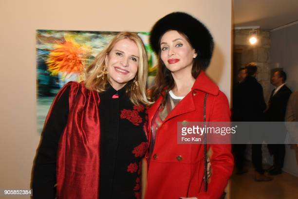 Eugenia Grandchamp des Raux and Isabella Orsini de Ligne attend Eugenia Grandchamp des Raux Photo Exhibition Preview at MEP on January 16 2018 in...