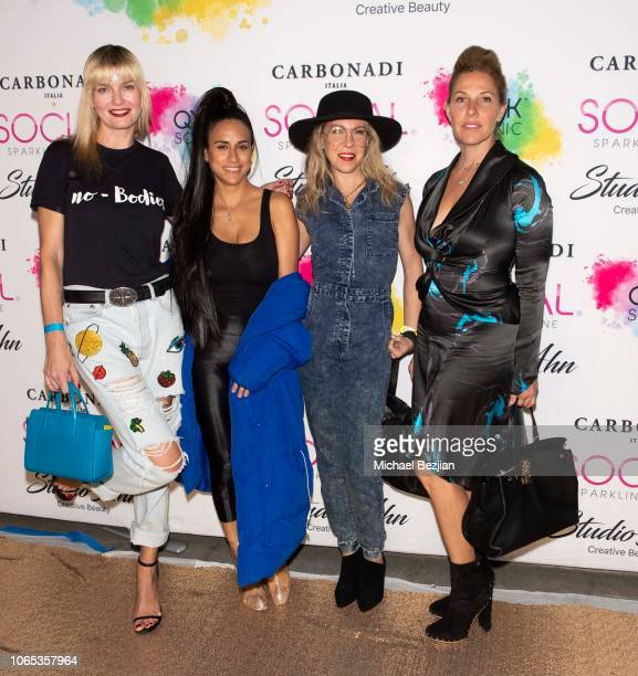 Eugenia Kuzmina Buffy Metler and Jessica Winther arrive at QYKSONIC's The Beauty Revolution New Product Launch Event on November 08 2018 in Los...
