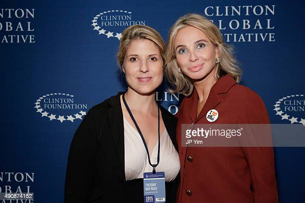 Eugenia Makhlin CEO and CoFounder of ELBI and Corinna SaynWittgenstein pose for a photograph before the closing session during the Clinton Global...