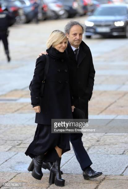 Eugenia Martinez de Irujo and Carlos Fitz James Stuart attend Pilar de Borbon institutional funeral at El Escorial on January 29 2020 in El Escorial...