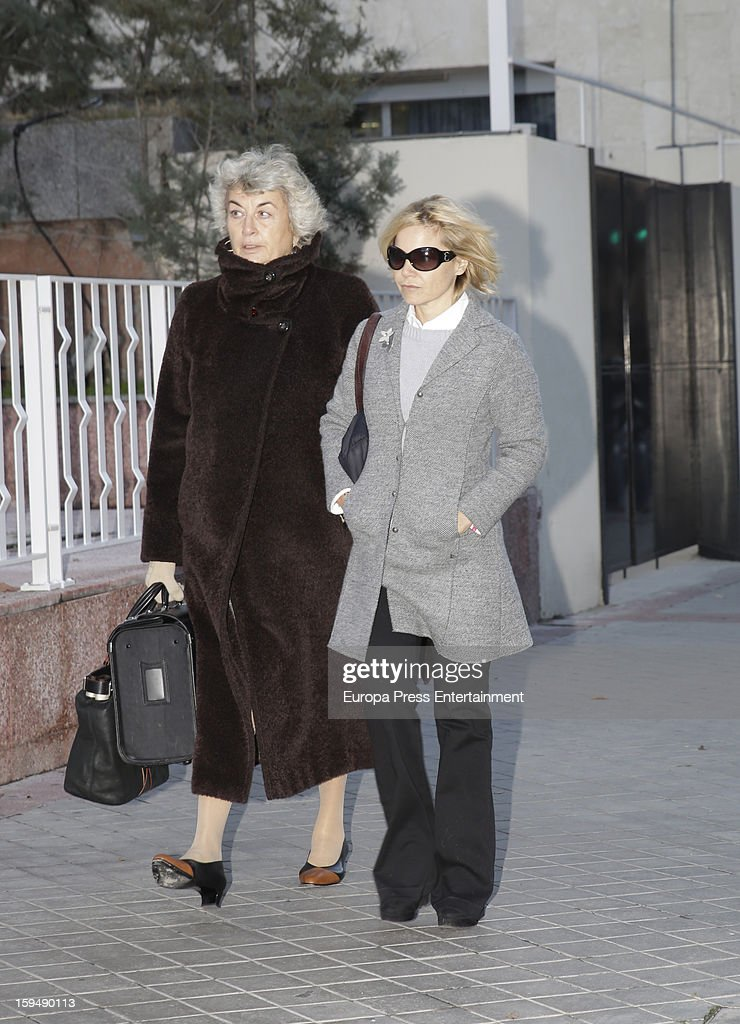 Eugenia Martinez de Irujo (R) and her lawyer Cristina Pena attend court on January 14, 2013 in Madrid, Spain. The bullfighter Francisco Rivera and ex wife Duchess of Montoro Eugenia Martinez de Irujo are fighting for the custody of their daughter.