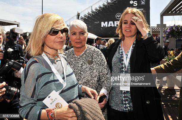 Eugenia Martinez de Irujo , Rosa Tous and Rosa Oriol are seen attending Tennis Barcelona Open Banc Sabadell on April 20, 2016 in Barcelona, Spain.