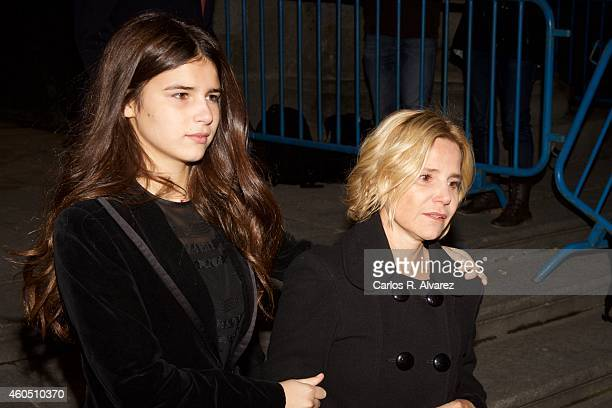 Eugenia Martinez de Irujo y FitzJames Stuart and her daugther Cayetana Rivera y Martnez de Irujo attend a Funeral Service for Duchess of Alba at the...