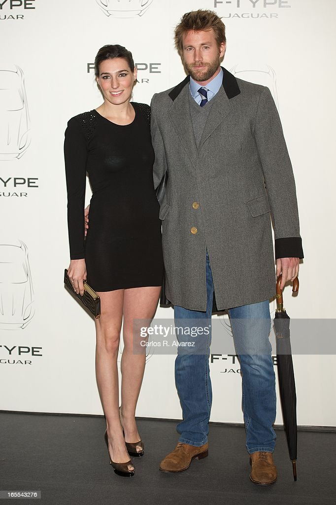 Eugenia Ortiz Osborne and husband Juan Melgarejo present the new Jaguar F-Type at the Museo del Traje on April 4, 2013 in Madrid, Spain.