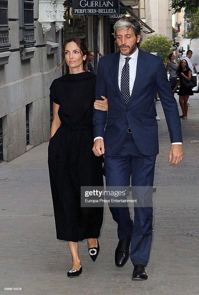 Eugenia Silva and Alfonso de Borbon attend the funeral chapel for Duke of Medinaceli, Marco De Hohenlohe-langenburg y Medina, at Jesus de Medinaceli basilica on September 6, 2016 in Madrid, Spain.