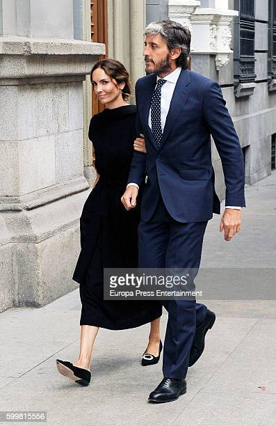 Eugenia Silva and Alfonso de Borbon attend the funeral chapel for Duke of Medinaceli Marco De Hohenlohelangenburg y Medina at Jesus de Medinaceli...
