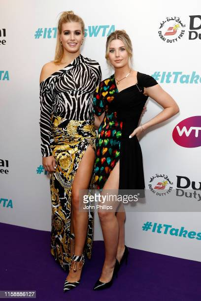 Eugenie Bouchard and sister Charlotte Bouchard attend the Dubai Duty Free WTA Summer Party 2019 at Jumeirah Carlton Tower on June 28 2019 in London...