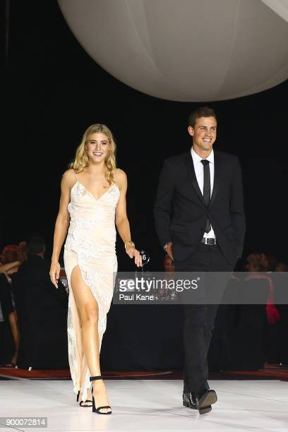 Eugenie Bouchard and Vasek Pospisil of Canada are introduced to guests during the 2018 Hopman Cup New Years Eve Ball at Crown Perth on December 31...