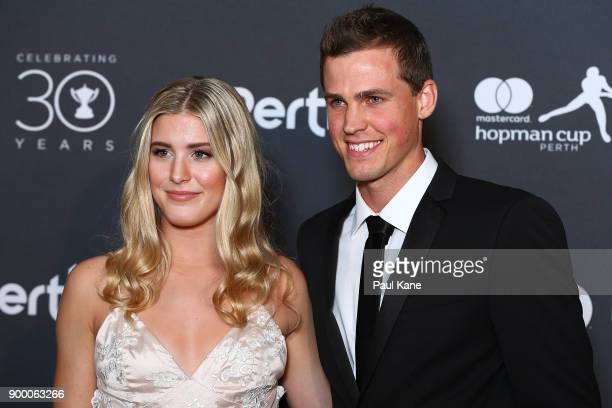 Eugenie Bouchard and Vasek Pospisil of Canada arrive at the 2018 Hopman Cup New Years Eve Ball at Crown Perth on December 31 2017 in Perth Australia
