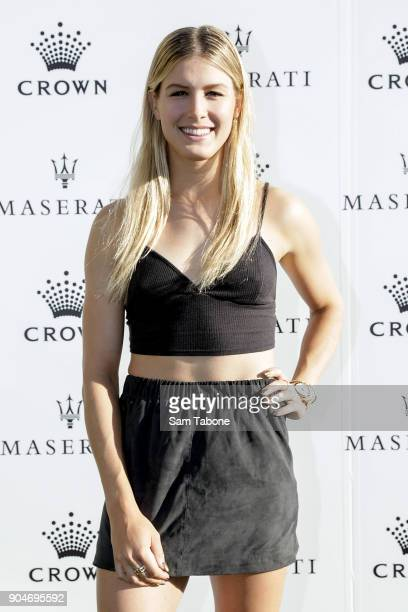 Eugenie Bouchard arrives ahead of the 2018 Crown IMG Tennis Player at Crown Palladium on January 14 2018 in Melbourne Australia