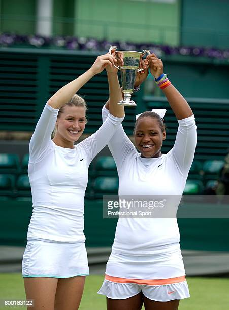 Eugenie Bouchard of Canada and Taylor Townsend of the USA win the Girls' Doubles Final against Belinda Bencic of Switzerland and Ana Konjuh of Crotia...