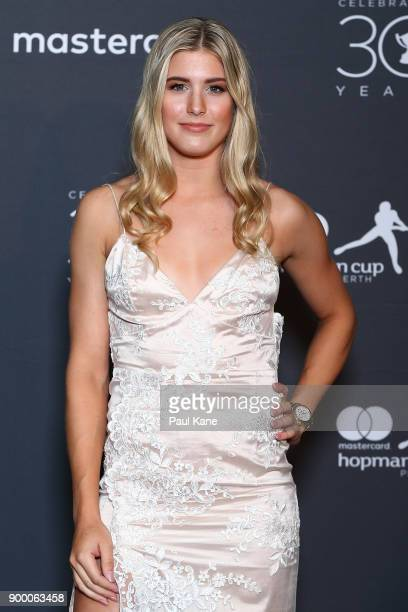 Eugenie Bouchard of Canada arrive at the 2018 Hopman Cup New Years Eve Ball at Crown Perth on December 31 2017 in Perth Australia