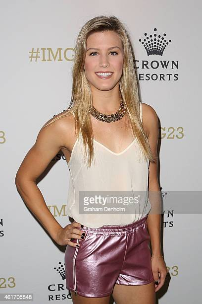 Eugenie Bouchard of Canada arrives for Crown's IMG@23 Tennis Players' Party at Crown Entertainment Complex on January 18 2015 in Melbourne Australia