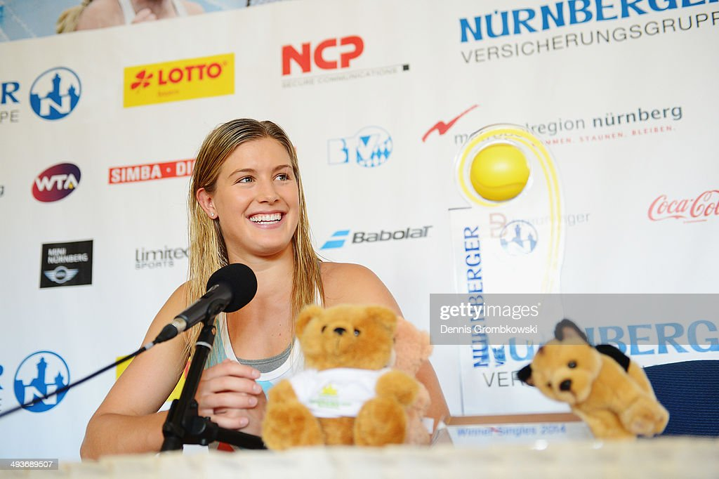 Eugenie Bouchard of Canada attends a press conference during Day 8 of the Nuernberger Versicherungscup on May 24, 2014 in Nuremberg, Germany.