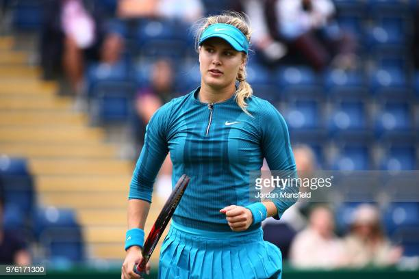 Eugenie Bouchard of Canada celebrates a point during her Qualifying match against Caroline Dolehide of the USA during day one of the Nature Valley...