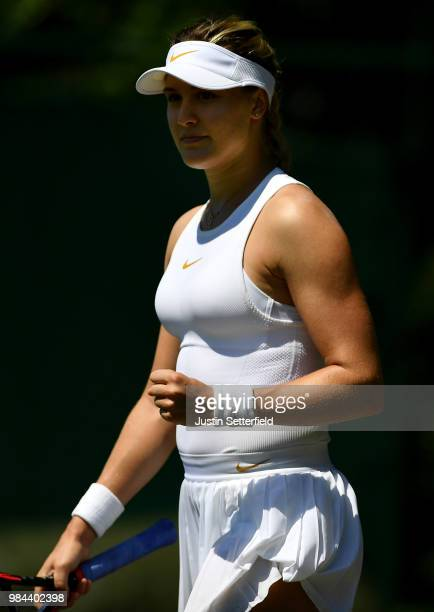 Eugenie Bouchard of Canada celebrates after beating Lin Zhu of China during Wimbledon Championships Qualifying - Day 2 at The Bank of England Sports...