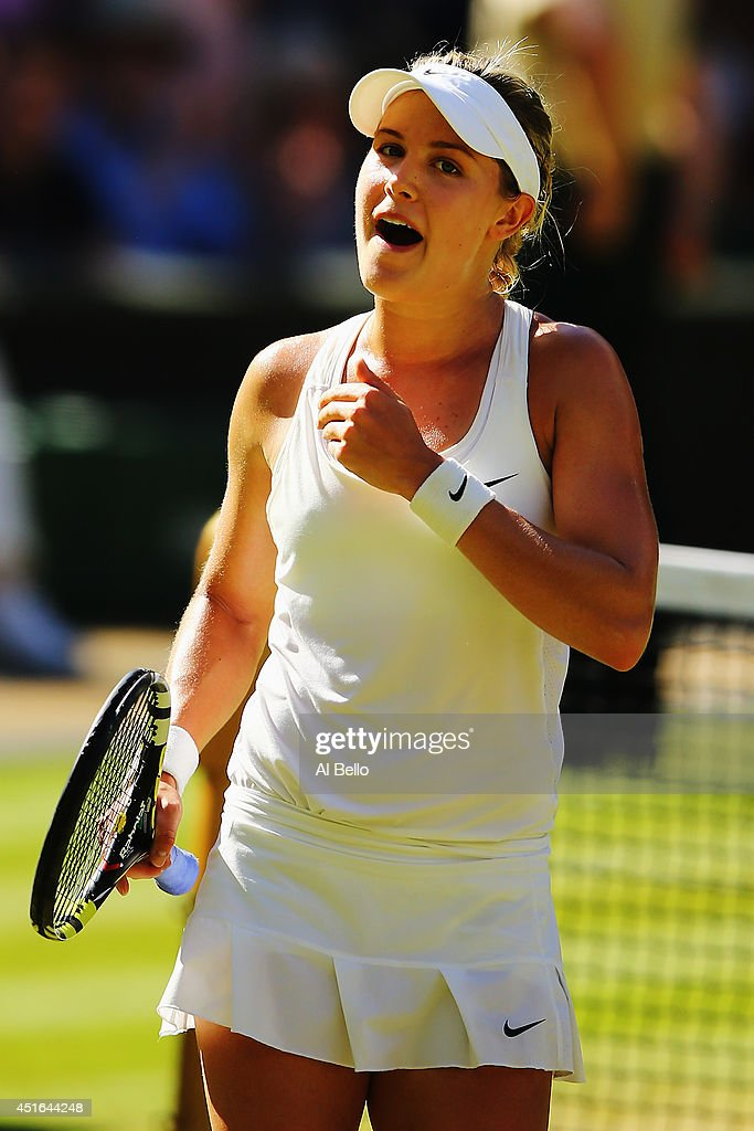 Eugenie Bouchard of Canada celebrates after winning her Ladies' Singles semi-final match against Simona Halep of Romania on day ten of the Wimbledon Lawn Tennis Championships at the All England Lawn Tennis and Croquet Club on July 3, 2014 in London, England.