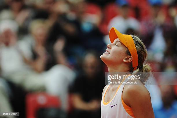 Eugenie Bouchard of Canada celebrates after winning her match against Karin Knapp of Italy during Day 7 of the Nuernberger Versicherungscup on May 23...