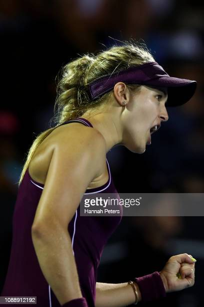 Eugenie Bouchard of Canada celebrates after winning her second round match against Bibiane Schoofs of Netherlands on January 02 2019 in Auckland New...
