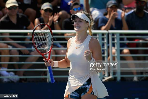 Eugenie Bouchard of Canada celebrates against Jamie Loeb of the United States during their round 3 women's singles qualifying match during the 2018...